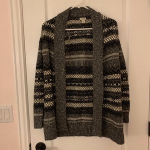 LL Bean Patterned Open Cardigan